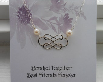 Infinity Necklace with Pearls, Best Friend Necklace, Sterling Silver Triple Infinity Bonded Together,Gift for Best Friend, Freshwater Pearls
