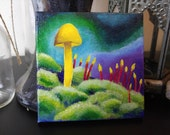 Small 4x4 Fairy Mushroom Acrylic Painting