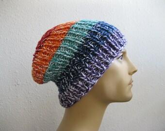 Rainbow Knit Beanie - Ribbed Beanie - Slouchy Beanie - Beanie Hat - Knitted Slouchy Beanie - Beanies - Knit Beanie Hat - Slouchy Beanie Hat