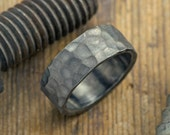 8mm Hammered Mens Wedding Band,