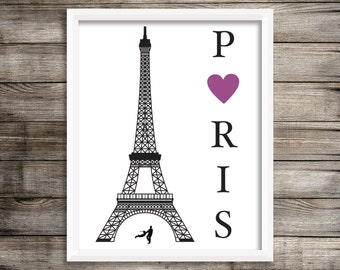 "Paris Art Print.  Paris Eiffel Tower Art Print 8X10"".   Home Decor ~ Digital Download."