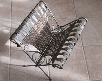 Victorian Style Wrought Iron and Wicker Magazine Rack