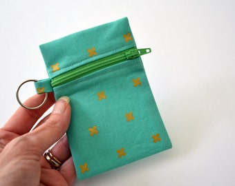 Zipper Pouch, Change Purse, Aqua Coin Purse, Gifts For her, Coin Purse, Business Card Holder