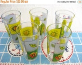20% Heart Sale Set of 5 Heavy Vintage Sunflower & Wildflower Tall Drinking Glasses-Spring Summer Lemonade