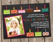 Cakes Birthday Party Photo Invitation Digital Printable, ANY wording any color any age