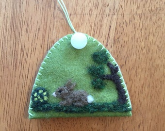 Needle Felted Bunny Half A Egg Shaped Ornament