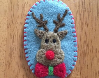 Needle Felted Rudolph Christmas Ornament