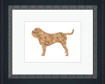 English Mastiff Wall Art - Pattern Print