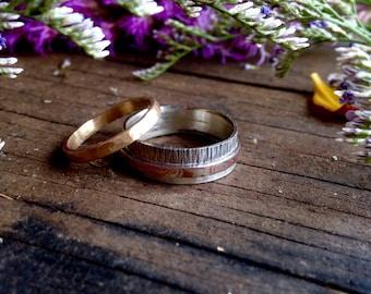 Mokume Gane Wedding band 6mm