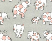 Endearing Elephants on Cotton Flannel (Cloud) - Baby Zoo Flannel - Michael Miller Fabrics - 1 Yard