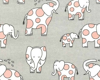 Endearing Elephants on Cotton Flannel (Cloud) - Baby Zoo Flannel - Michael Miller Fabrics - 1 Yard