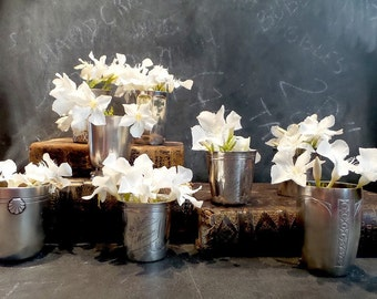 Antique French romantic Tumbler Vase Set .Monogrammed Silver plated Vases Cup .Shabby chic decor