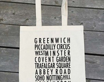London Tote Bag - Bus Roll - typography style tote - London neighbourhoods