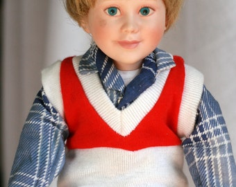 Collectible Porcelain Boy Doll, Interesting Porcelain Doll, Creepy Little Boy Doll.