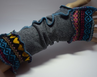 Upcycled Arm-warmers, Longer length, Up-cycled, OOAK, Festival Gear. UK Seller, Ships Worldwide.