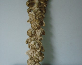 Shabby Chic Rose Wall Plaque/Gold Plaster Flower Wall Hanging/Shabby Chic Decor