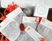 Tea Sample Gift Box /  Organic Loose Leaf Tea / Tea Infuser With Real Stone and Lead Free U.S.A Charm / You choose teas / Gift Tag Included