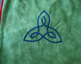 Tote Bag, Celtic Triangle Tote, Cotton Appliqued Tote