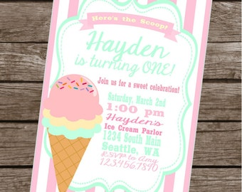 ICE CREAM PARLOR Happy Birthday Party or Baby Shower Invitations Set of 12 {1 Dozen} - Party Packs Available