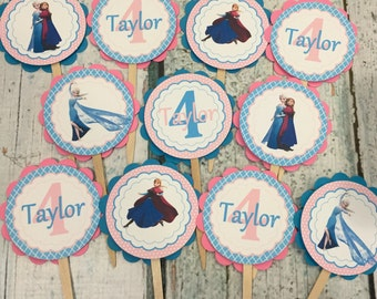FROZEN INSPIRED Birthday or Baby Shower Party Cupcake Toppers Picks set of 12 {One Dozen}  - Party Packs Available
