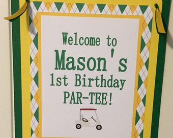 PREPPY ARGYLE GOLF Birthday or Baby Shower Door or Welcome Sign - Yellow Green - Party Packs Available