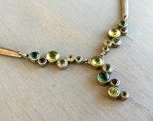 Sterling Gemstone Bubble Necklace Emerald Green Vintage Artisan Jewelry tourmaline peridot emerald