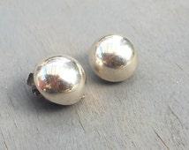 Vintage Sterling Dome Earrings Mid Century Modern Clip On Fine Jewelry