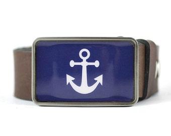 Anchor Belt Buckle, Sailor belt buckle, Nautical Belt Buckle, Blue Belt Buckle, gift for him, men's gift idea