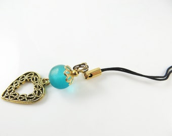 Golden heart cell phone charm