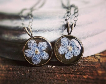 Pressed flower necklace, real floral blue forget me nots set in resin in a dainty circle pendant best friend jewelry set of two