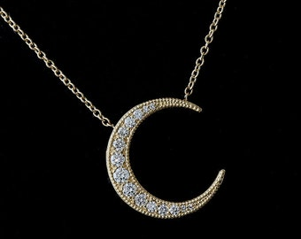 Graduated Diamond Moon Necklace, White Gold Crescent Moon Pendant, Gold Diamond Moon Jewelry, Cable Chain With Lobster Clasp Moon Necklace