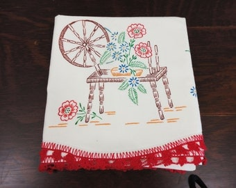 Single Painted Pillowcase  Spinning Wheel and Flowers - 100% Cotton