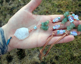 RAINBOW MOONSTONE, Larimar, & Aventurine Leather and Copper Necklace with Feather Dangle - Pagan Jewelry, Boho Jewelry, Wiccan Jewelry