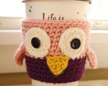 Owl Coffee Cozy, Crochet Coffee Cozy, Crocheted Owl Cozy, Owl Cozies, Crochet Owl Cozy, Animal Cup Cozies, Crocheted Animal Cozies