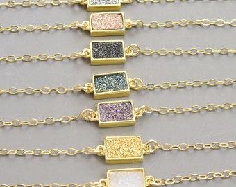 Druzy Bracelet Gold - Small Druzy Bracelet - Minimalist Bracelet - Dainty Gold Bracelet for Women - Druzy Jewelry - Mothers Day Gift