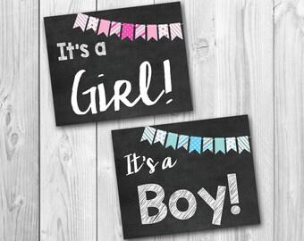 BOGO SALE, Gender reveal, It's a girl, It's a boy, baby announcement, photo prop, instant download, bundle