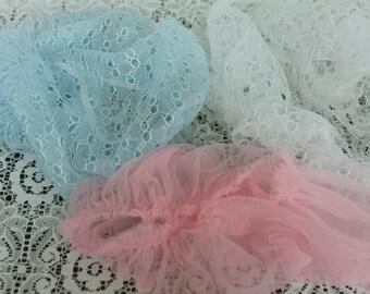 Vintage Hair Bonnets/Nets Blue and White  Scrunci UK