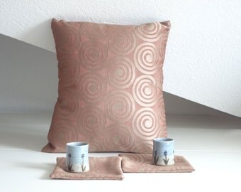 Salmon beige spiral pillow, elegant pillow cover, 16x16 inches, decorative pillows