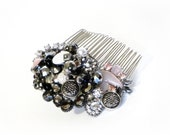 Black Crystal Art Deco Style Comb Dusty Rose Hair Jewelry Gothic Wedding Formal Event Night