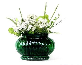 Emerald Green ALR Co Ribbed Oval Vase Scalloped Edge Flower Pot Bulb Planter Kitchen Decor