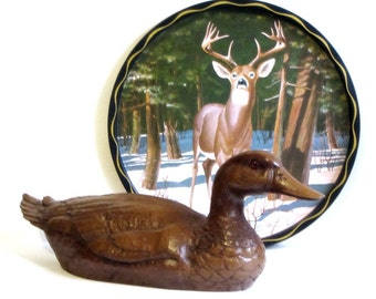 Vintage Duck Cas-Carved Wood Art Sitting Duck Woodland Bird Figurine Water Fowl Statue Gift for Father Hunter