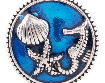 1 PC - 18MM Seahorse Shells Blue Enamel Silver Tone Charm for Candy Snap Jewelry KC6155 Cc2611