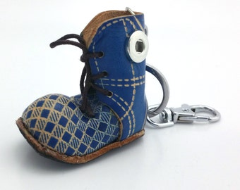 1 Blue Leather Boot Keychain - FITS 12MM Candy Snap Charm Jewelry Silver Limited Edition CJ0404