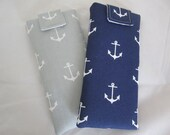 RESERVED for TA only Sunglass / eyeglass case anchor pattern on navy or light gray padded lined RTS