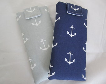 NEW! Sunglass / eyeglass case anchor pattern on navy or light gray padded lined RTS with or w/o closure