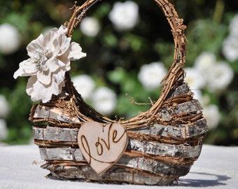 Personalized Flower girl basket~Shabby Chic~ Rustic~Woodland~Fairytale Wedding~Wood/birch Bark
