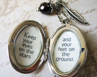 Locket  necklace Keep your eyes on the stars jewelry with inspirational quote by Roosevelt pendant  for women inspiring motivational jewelry