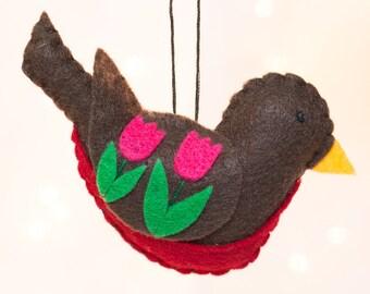 Felt Bird Ornament - Felt Robin Ornament