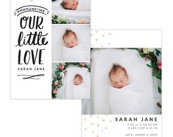 INSTANT DOWNLOAD - Photoshop Birth announcement template -  e1286