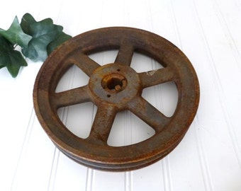 Two Belt Browning Machinery Pulley,  Rusty Farm Tool